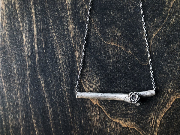 Natures Delicate Branch Silver Necklace - Jester Swink