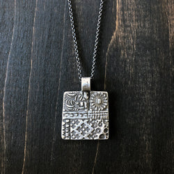 Fine Silver Square Patchwork Necklace - Jester Swink