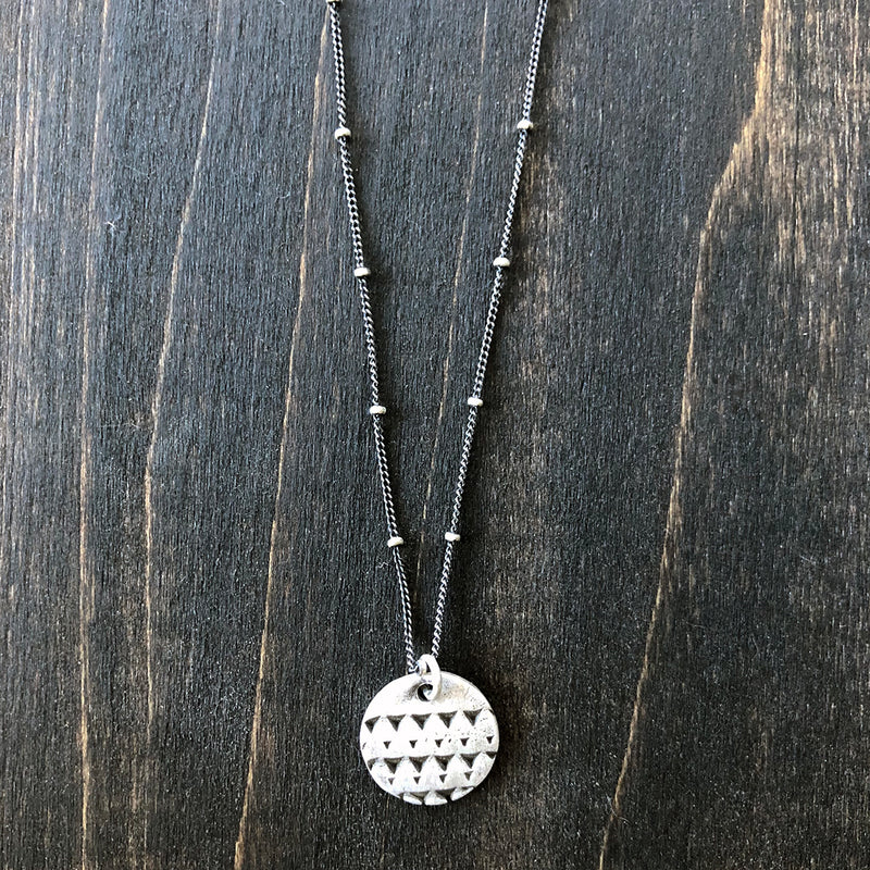 Circle Pendant with Triangle Texture Necklace - Jester Swink