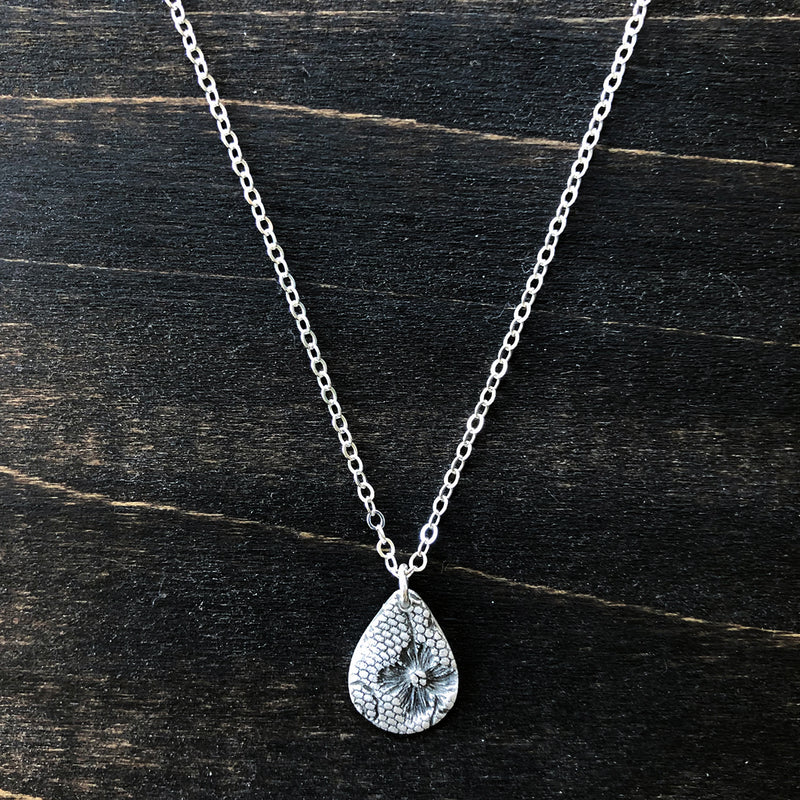 Silver Floral Lace Teardrop Necklace - Jester Swink