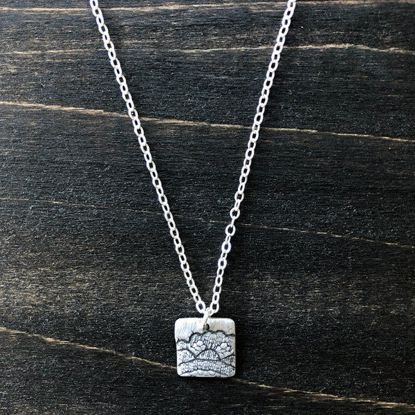 Silver Square Lace Pendant Necklace - Jester Swink
