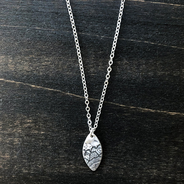 Jester Swink - Silver Oval Lace Pendant Necklace
