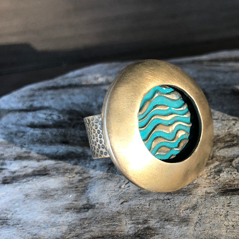 Textured Turquoise Ring - Jester Swink
