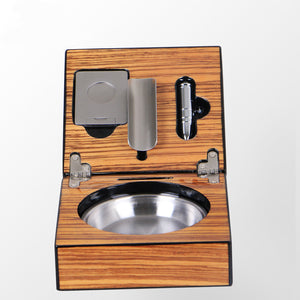 Mirage Black Folding Stainless Steel&Wood Cigar Ashtray with Cigar Cutter and Cigar Punch