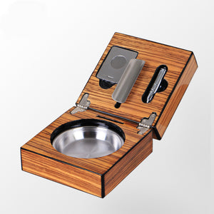 Mirage Black Folding Stainless Steel&Wood Cigar Ashtray with Cigar Cutter and Cigar Punch - The Cigars Club