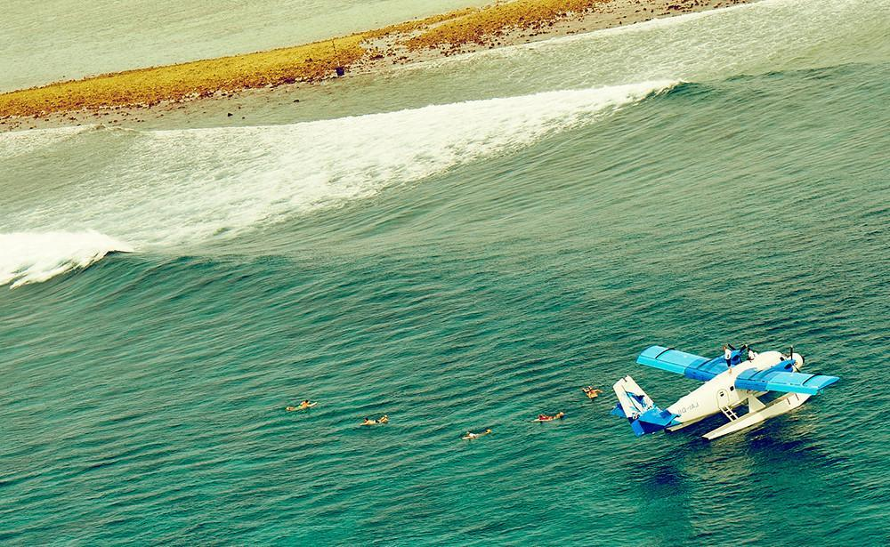 Seaplane surfaris in the Maldives. Luxury surfing at its best