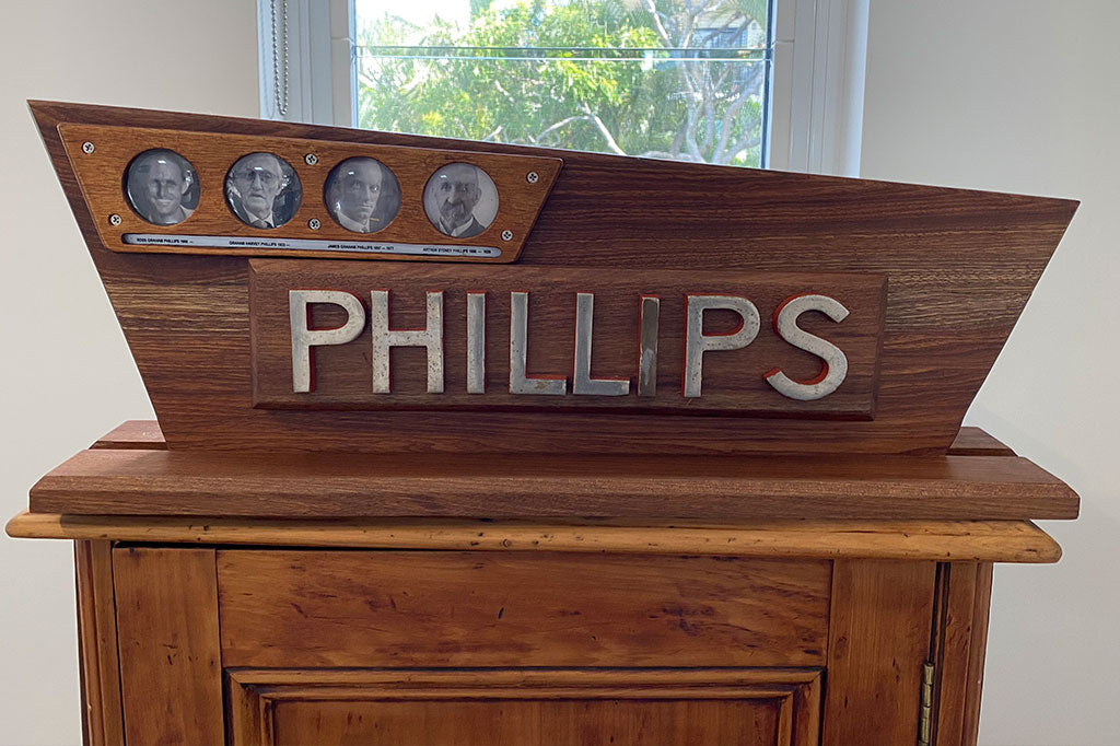 AS Phillips & Sons. These shopfront letters from my great grandfather are 100 years old.