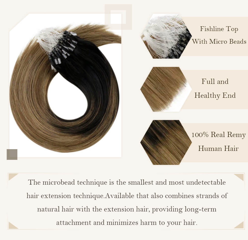 balayage black root fading to light brown hair extensions micro loop hair extensions remy human hair cold fusion pre bonded hair