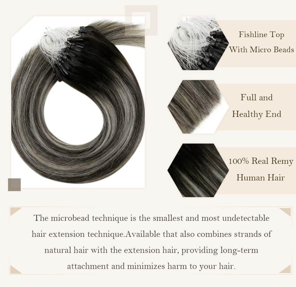 balayage black root fading to silver hair extensions micro loop hair extensions remy human hair cold fusion pre bonded hair