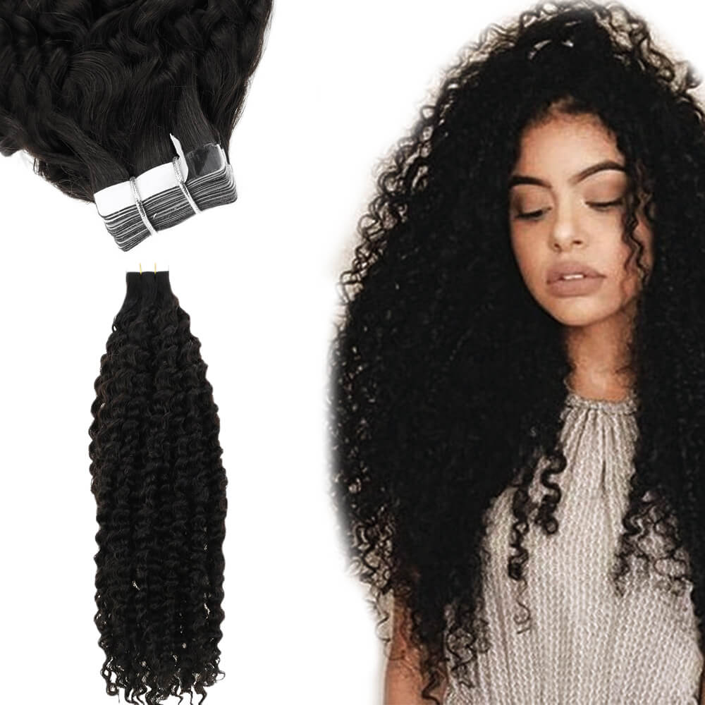 KC kinky curly tape in hair extensions