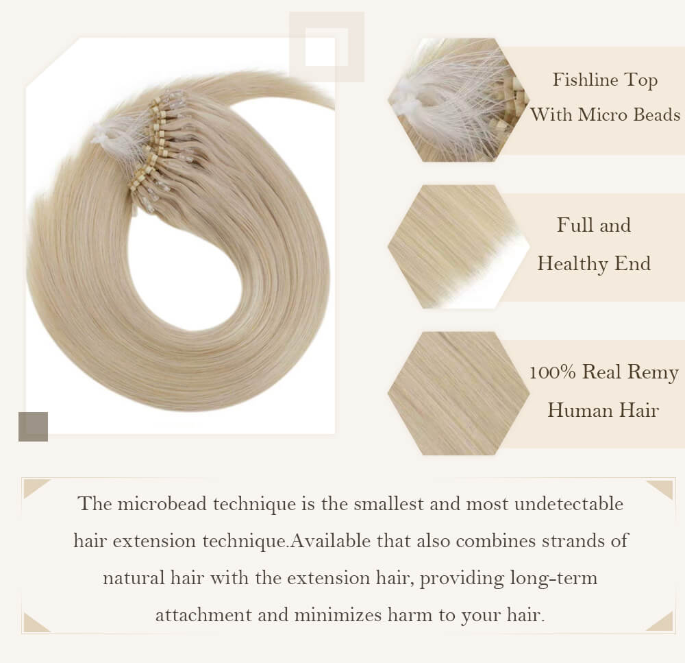 Solid light blonde color micro loop hair extensions remy human hair cold fusion pre bonded hair