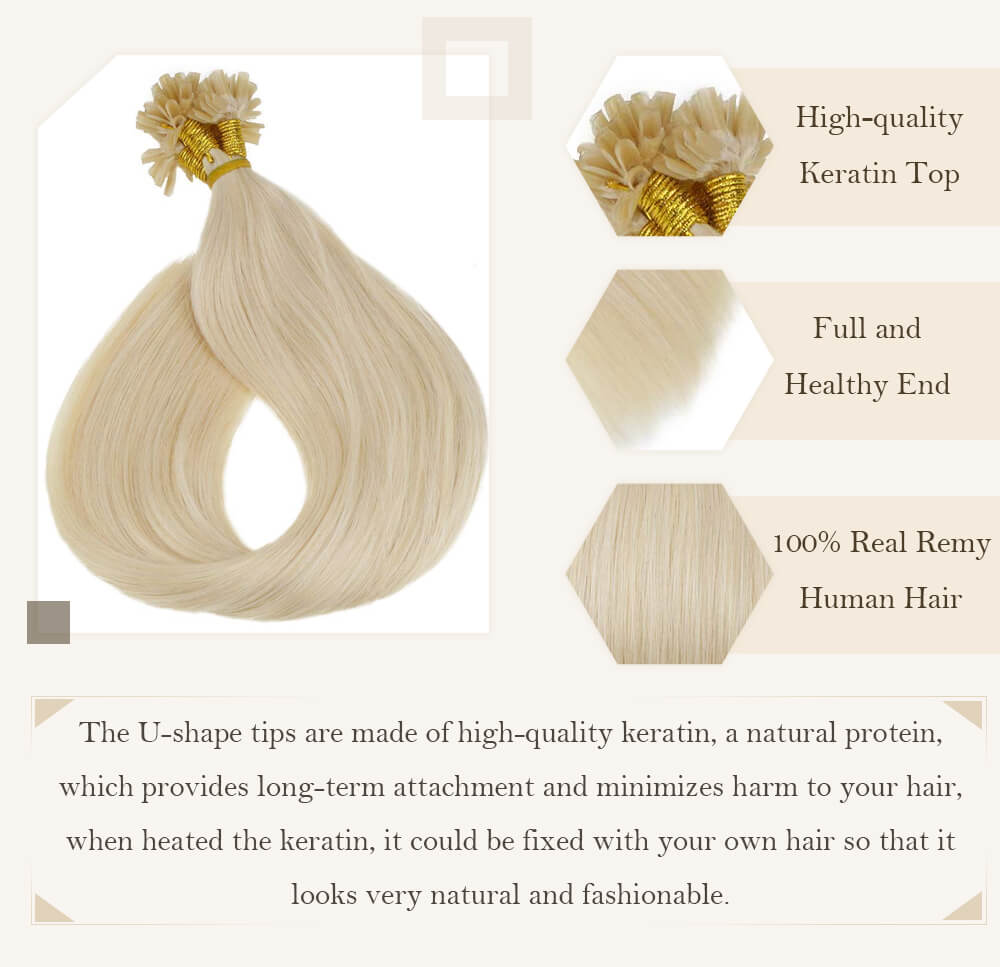 solid blonde u tip hair extensions remy human hair silk smooth hair extensions nail shape keratin hair ready to apply
