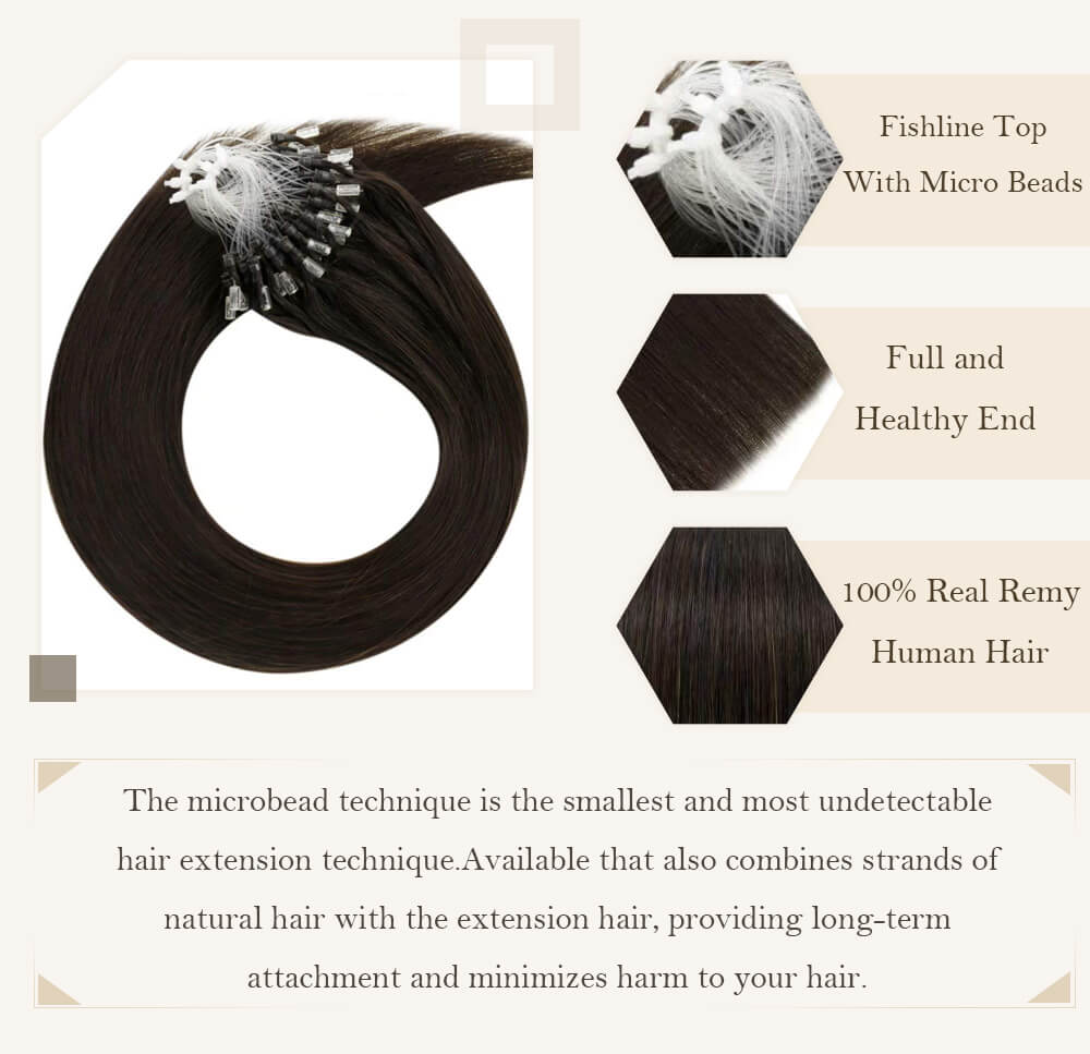 solid darkest brown hair micro loop hair extensions remy human hair cold fusion hair extensions