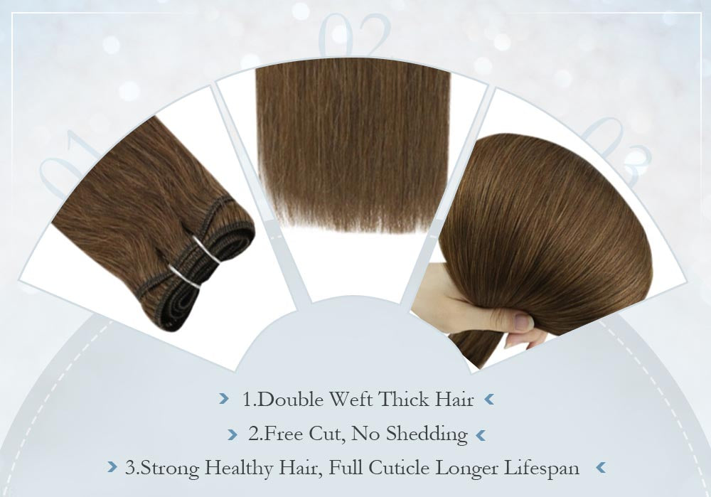 double weft thick hair free cut no shedding strong healthy hair full cuticle of hair with long lifespan