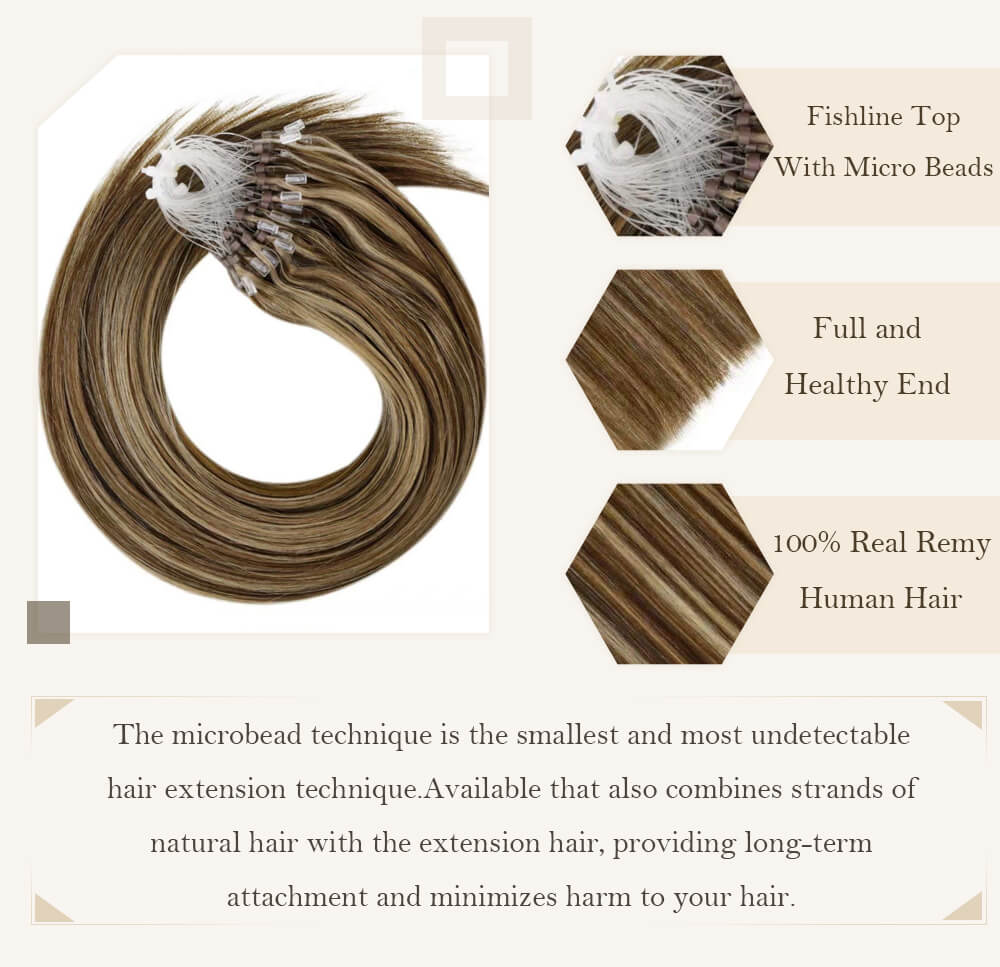 highlight brown to blonde color micro loop hair extensions remy human hair cold fusion pre bonded hair