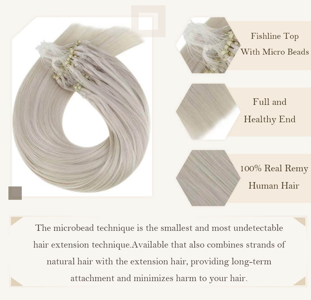 solid light blonde color hair extensions micro loop hair extensions remy human hair cold fusion hair extensions