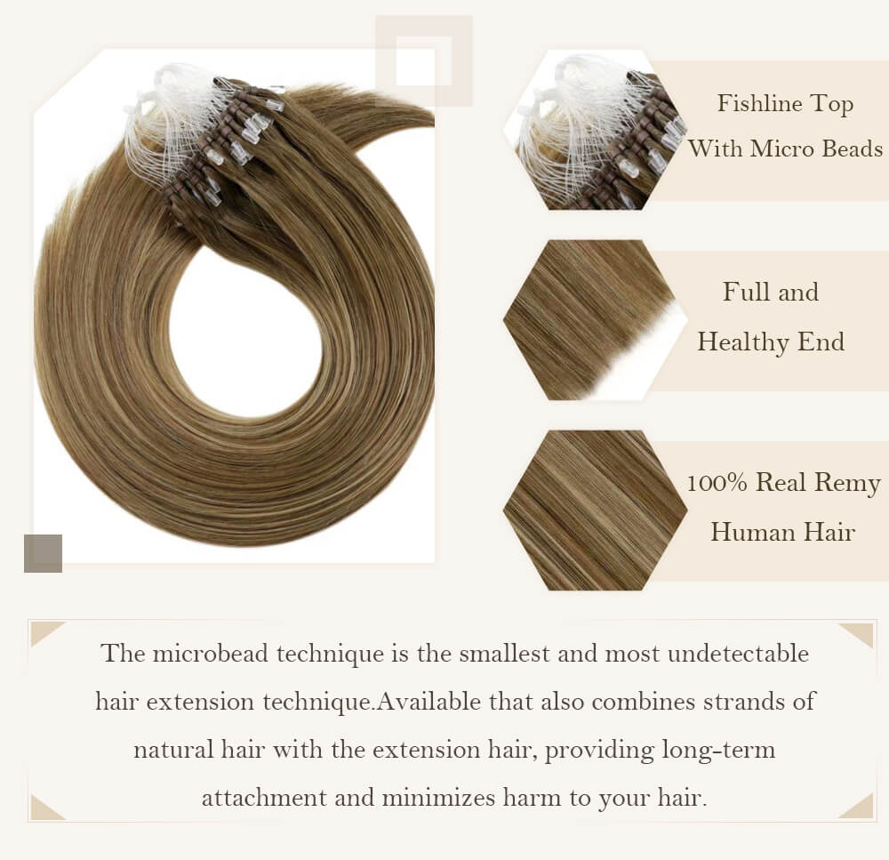 balayage brown root fadingto blonde color hair micro loop hair extensions remy human hair cold fusion pre bonded hair
