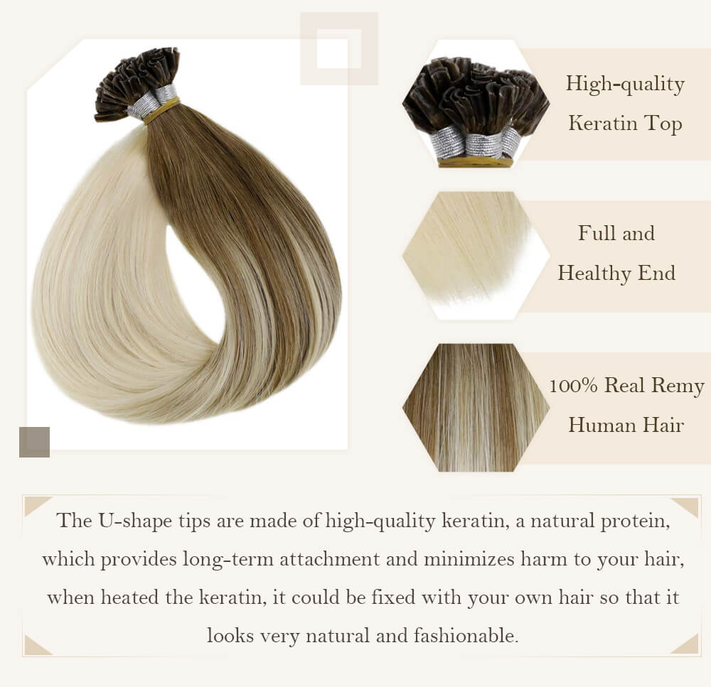 Ombre brown to blonde u tip hair extensions remy human hair silk smooth hair extensions