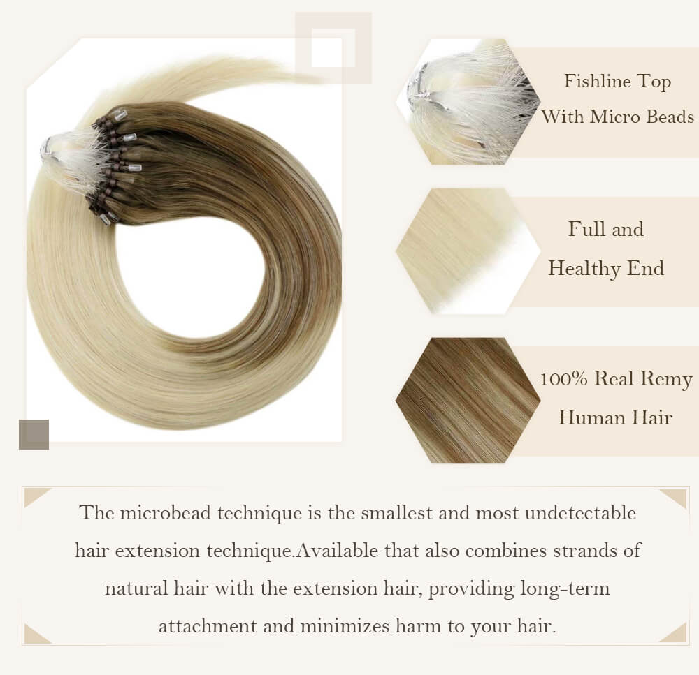 ombre brown to blonde micro loop hair extensions pre-bonded high quality human hair