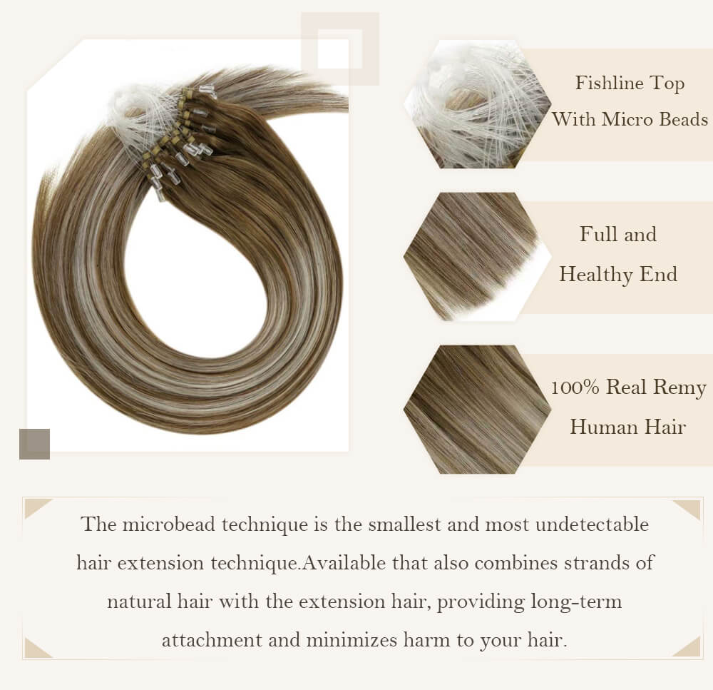 balayage light brown root fading to highlight blonde color hair micro loop hair extensions remy human hair cold fusion pre bonded hair