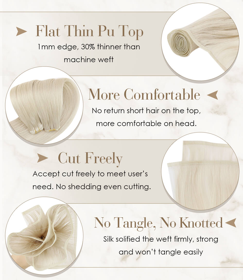 Flat thin pu weft top much thinner than other kind of weft no return short hair, which is more comfortable in hair cut freely accept cut freely to meet user's need no shedding even cutting no tangle no knotted silk hair