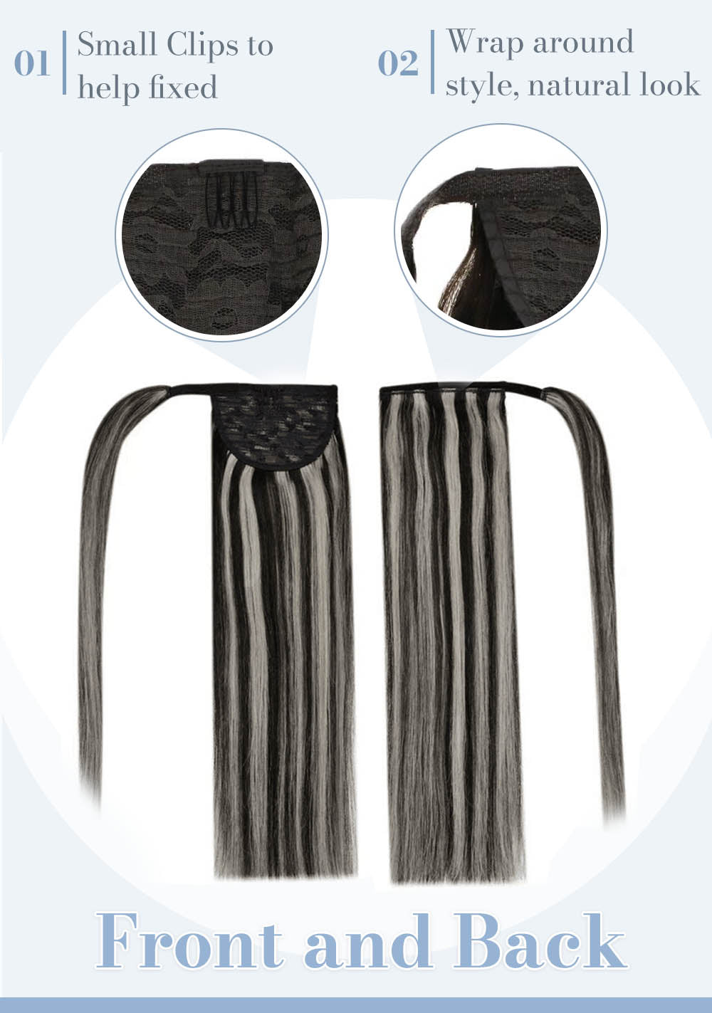 Small clips to help fixed wrap around style natural look front and back look