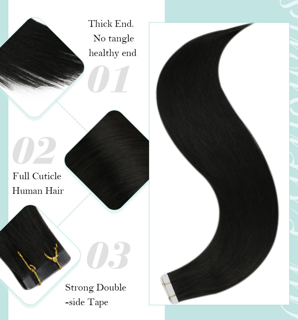 Thick end no tangle healthy hair full cuticle human hair strong double side tape virgin hair