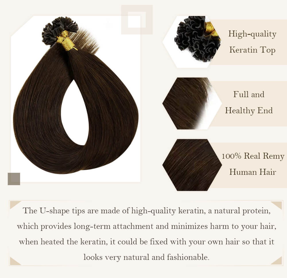 u tip hair extensions remy human hair silk smooth hair extensions nail shape keratin hair ready to appl