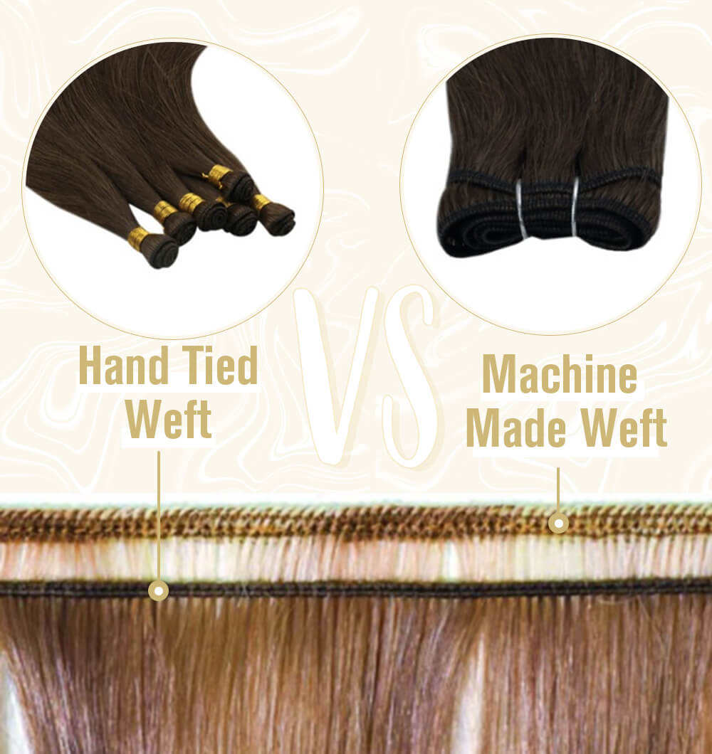 hand tied weft are thinner than the double weft machine made weft