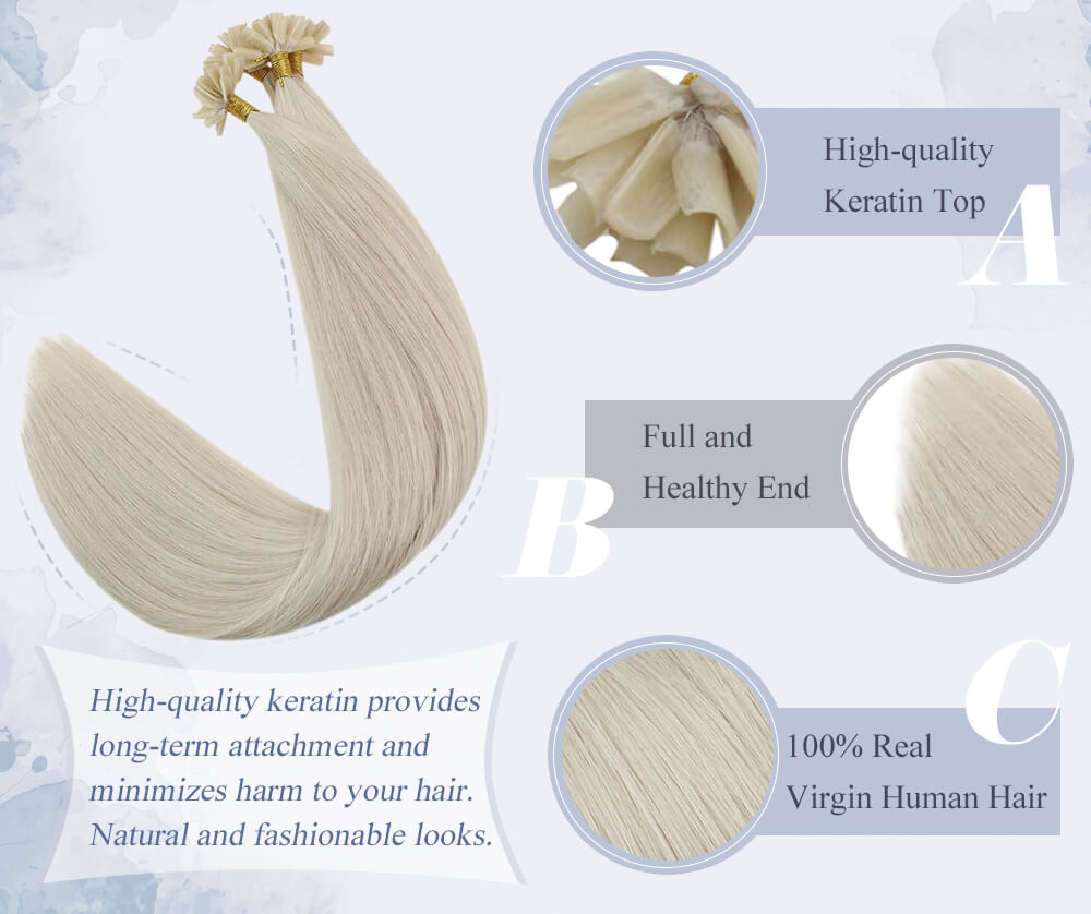 high quality keratin top full and healthy end real virgin human hair provides long term attachment and minimizes harm to your hair. Natural and fashionable looks