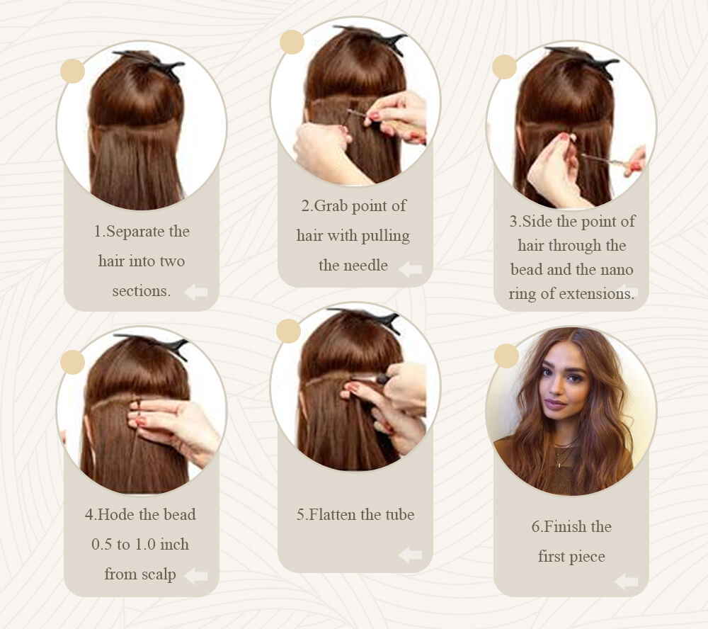 how to apply nano ring human hair extensions steps to install hair