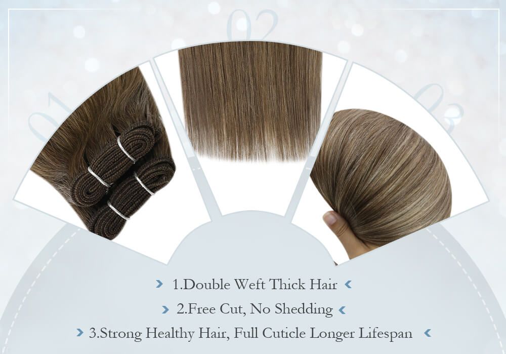 virgin quality hair weft double weft hair ready to install free cut smooth healthy hair no knotted no tangle