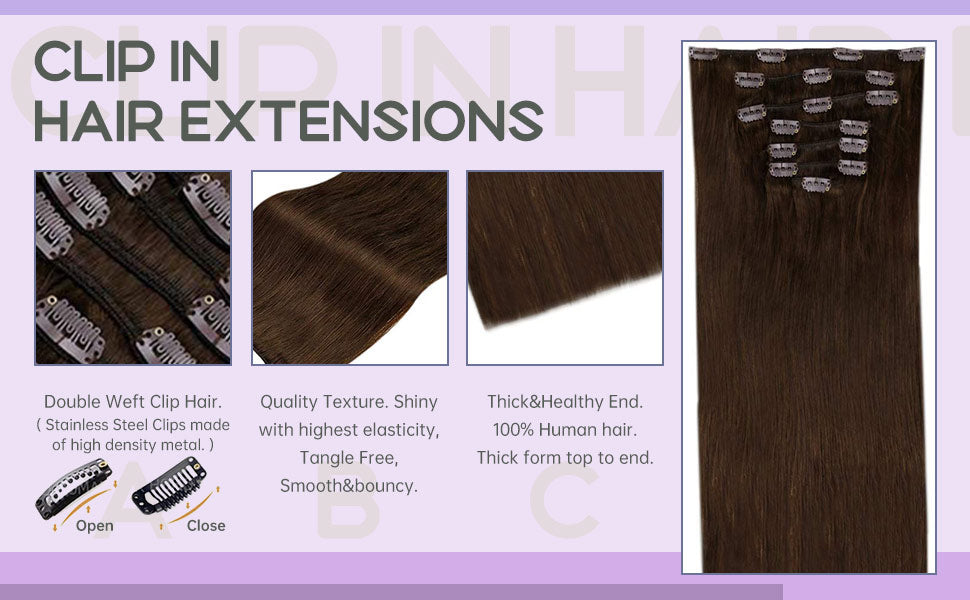 detail shows of clip in hair extensions virgin human hair laavoo clip ins