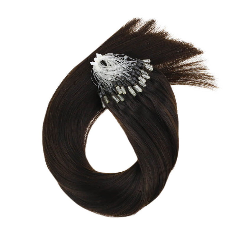 Micro Loops Beads Remy Hair Extensions Human Hair Color Darkest Brown #2| LaaVoo - LaaVoo