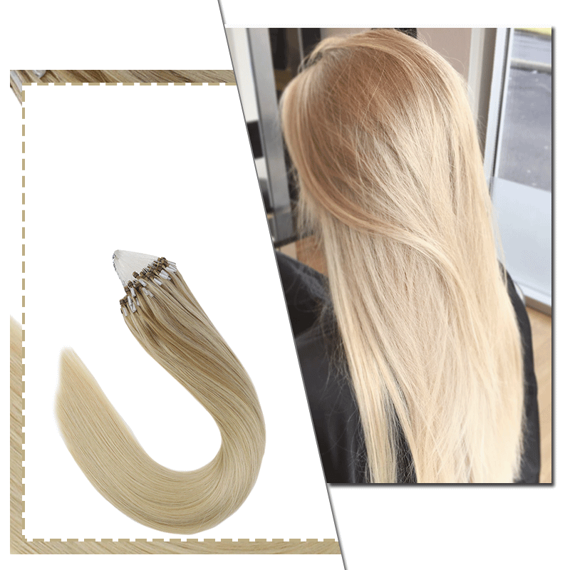 Micro Link Hair Extensions Remy Hair Extensions Balayage Color #18/22/60| LaaVoo - LaaVoo