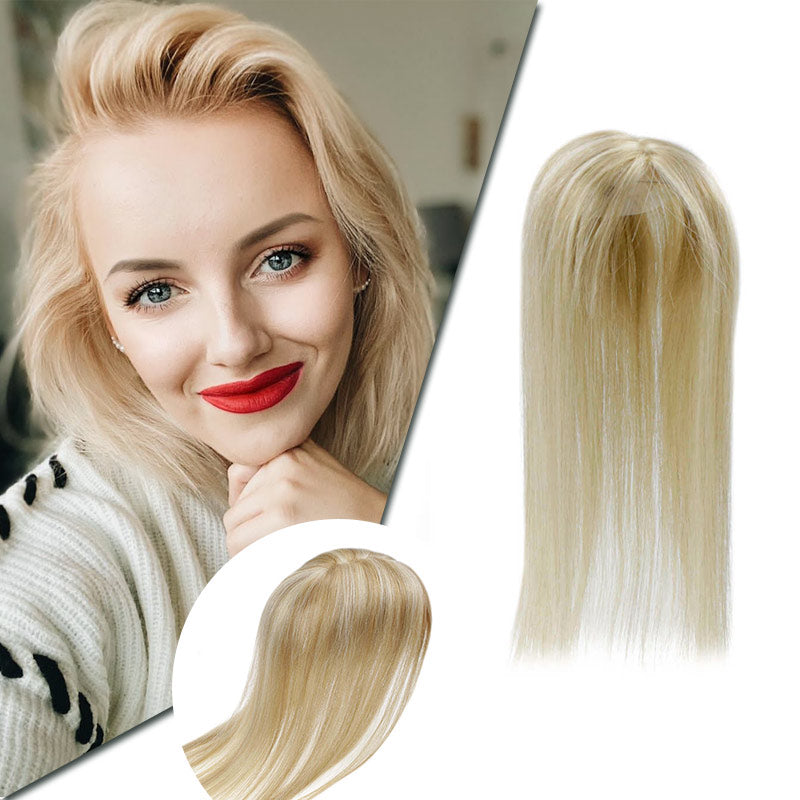 12cm *6cm Mono Hair Free Part Topper Straight Remy Human Hair Clip in Crown Hair Piece #18/613| LaaVoo - LaaVoo