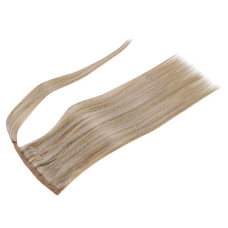 hair ponytail highlight blonde color hair remy human hair extensions