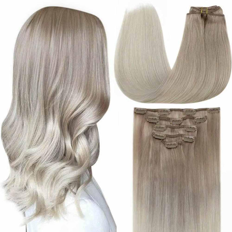 double weft human hair clip in extensions seamless sew in weft hair extentions