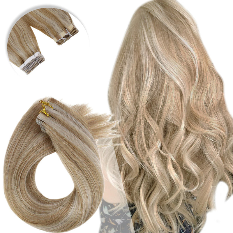 Tape in Highlighted Real Human Hair Extensions Balayage Ombre Color #18/60 Ash Blond Fading to Lightest Blond (bala 18/60)2.5g\piece