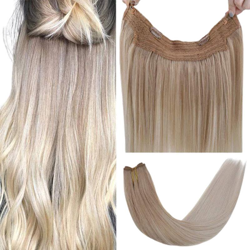 weft with invisible fish line real hair halo for women invisible crown hair extensions
