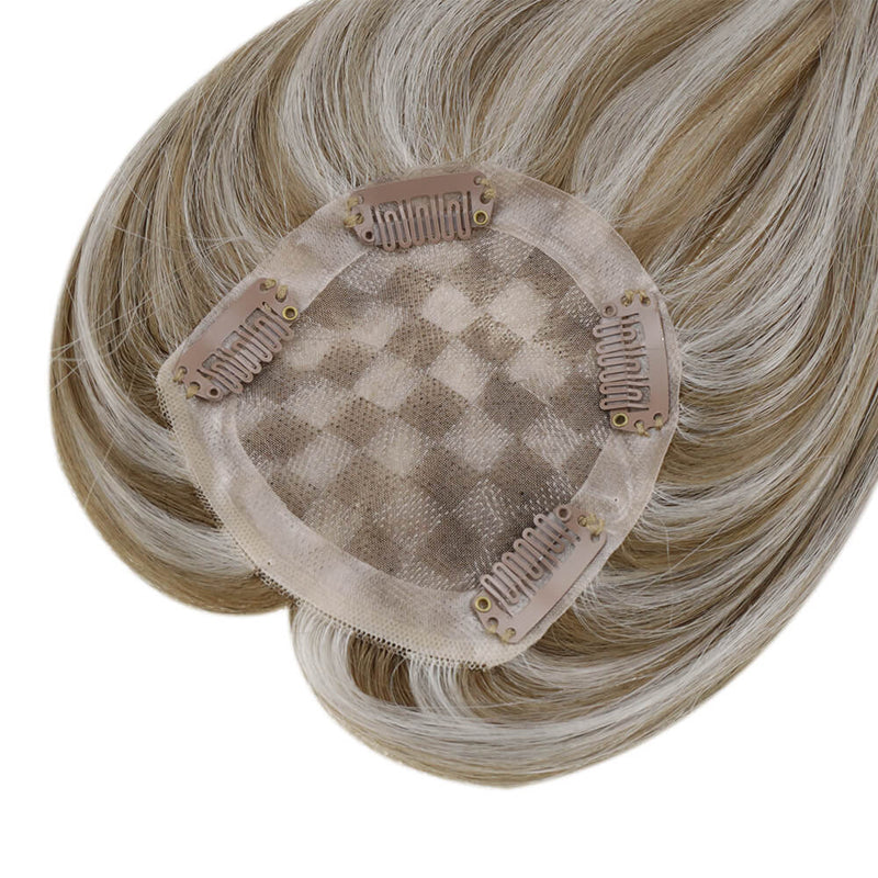 "5""*5"" Mono Hair Topper Straight Remy Human Hair Clip in Crown Hair Piece Toupee for Women"