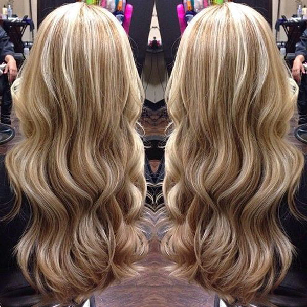 Remy Human Highlight Blonde Wavy Front Lace Wig 130% Density  Ash Blonde to Bleach Blonde #18/613 - LaaVoo