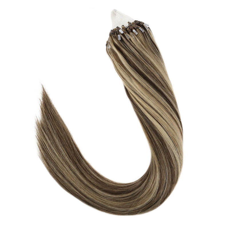 Micro Loops Beads Remy Hair Extensions Human Hair Blonde Highlights  #P4/27| LaaVoo - LaaVoo