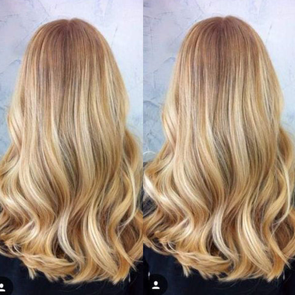 Highlight Blonde Wavy Front Lace Wig 130% Density Strawberry Blonde to Bleach Blonde P27/613 - LaaVoo