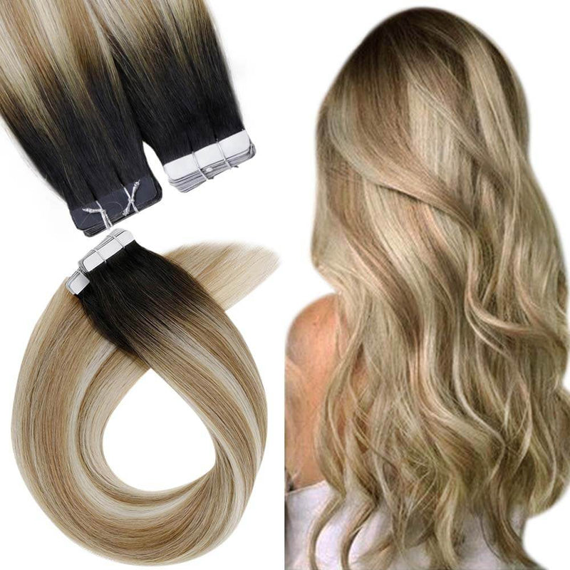 balayage black to blonde tape in human hair extensions remy human hair