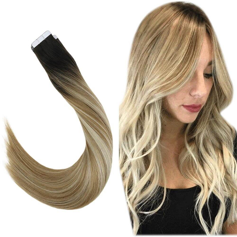 [ Clearance] Tape in Remy Hair Extensions Balayage Ombre Off Black and Blonde Hair