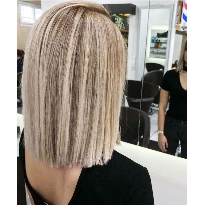Highlight Front Lace Hair Bob Wig Piano Color Ash Blonde to Bleach Blonde#18/613 Straight 130% Density Free Part with Baby Hair - LaaVoo