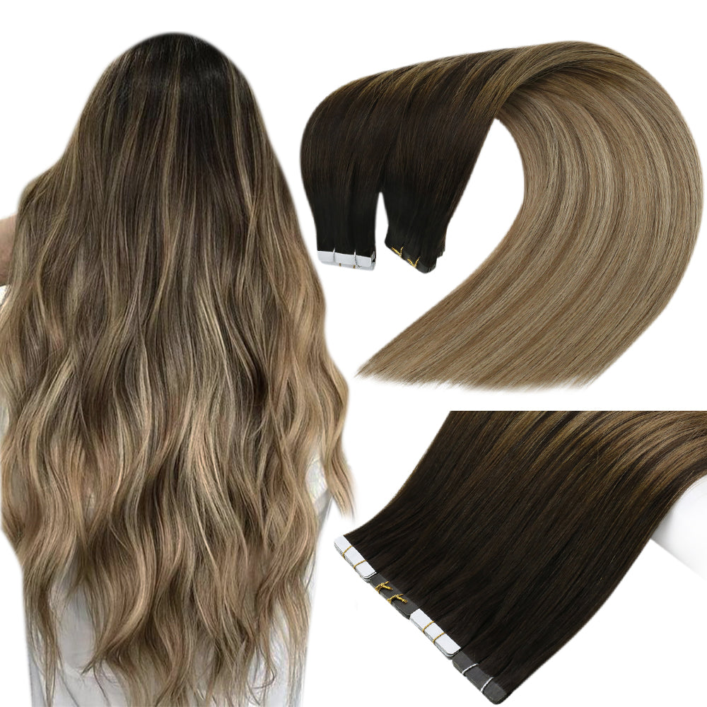 #2/6/18 Micro Loops Beads Remy Hair Extensions Human Hair Balayage Color 50g - LaaVoo