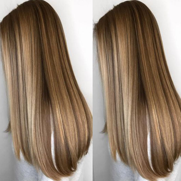 Long Straight Front Lace Wig Free Part with Baby Hair Highlight 130% Density(P27/22) - LaaVoo