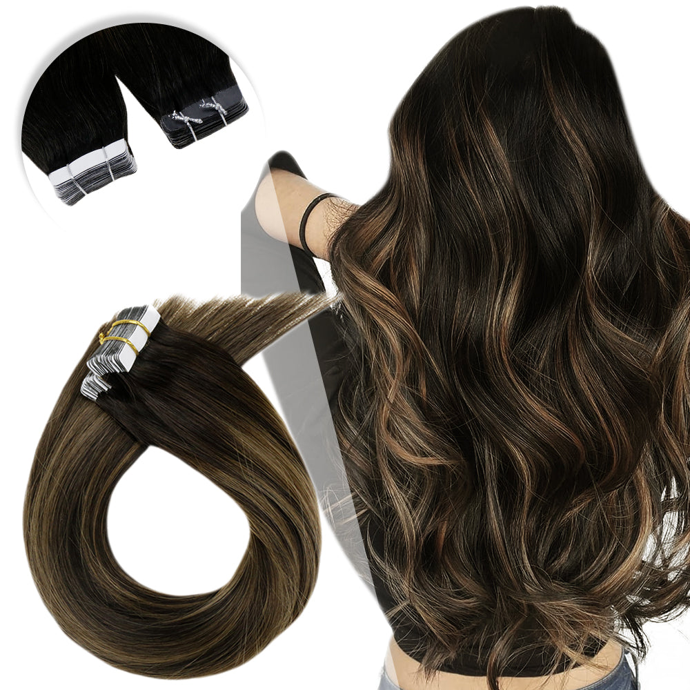 Flip/Halo Hair Highlight Ombre Dark Brown Fading to Light Brown and Dark Brown #2/8/2 - LaaVoo